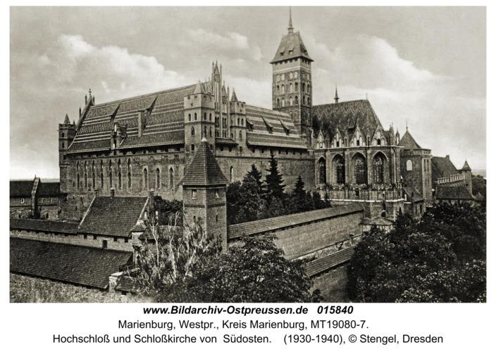 Marienburg, Hochschloss und Schlosskirche von  Südosten