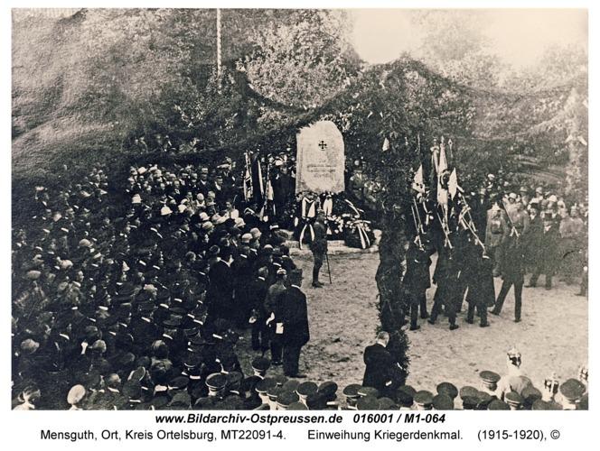Mensguth, Einweihung Kriegerdenkmal