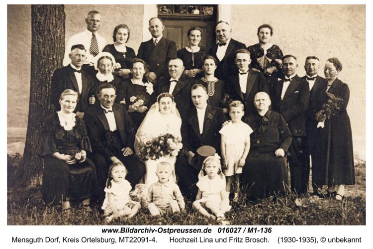 Mensguth, Hochzeit Lina und Fritz Brosch