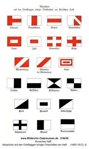 Kurisches Haff, Abzeichen auf den Ortsflaggen einiger Ortschaften am Haff