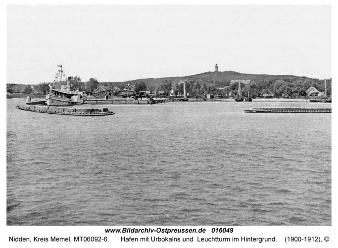 Nidden, Hafen mit Urbokalns und Leuchtturm im Hintergrund