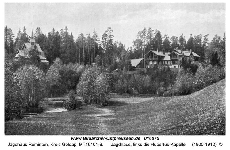 Jagdhaus Rominten, Jagdhaus, links die Hubertus-Kapelle