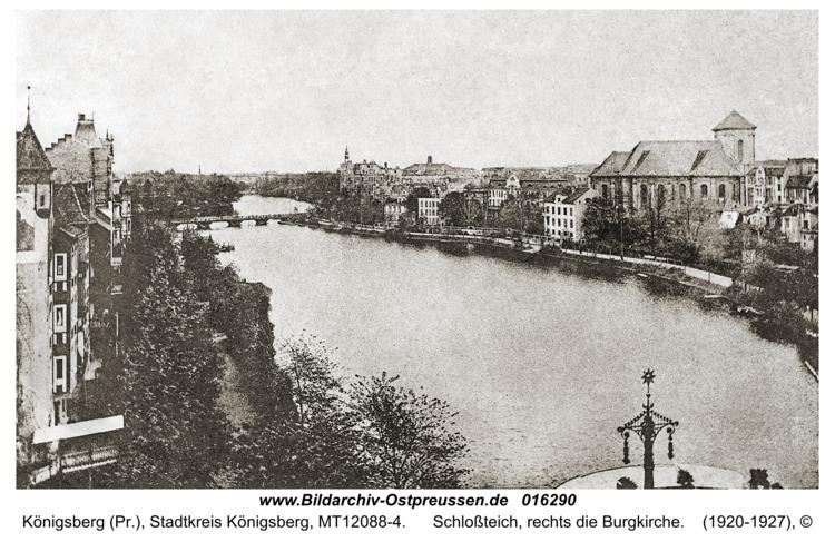 Königsberg, Schloßteich, rechts die Burgkirche