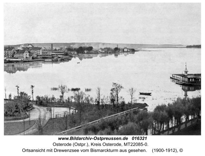 Osterode, Ortsansicht mit Drewenzsee vom Bismarckturm aus gesehen