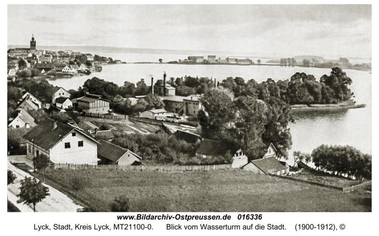 Lyck, Blick vom Wasserturm auf die Stadt