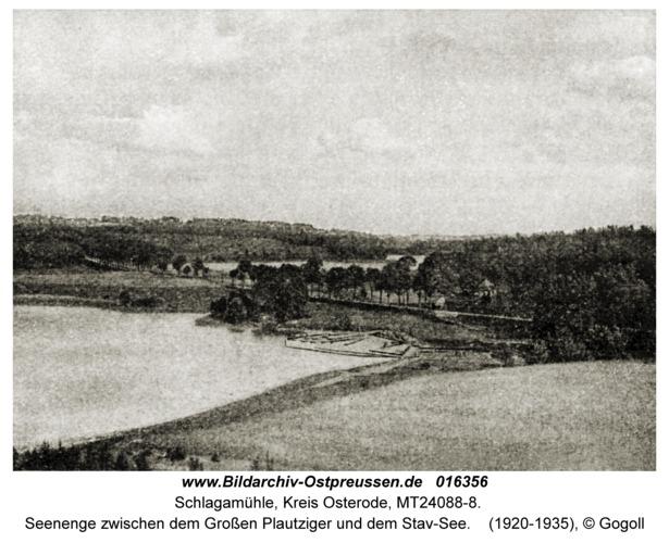 Schlagamühle, Seenenge zwischen dem Großen Plautziger und dem Stav-See