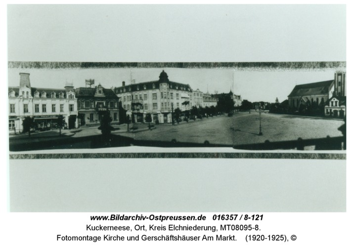 Kuckerneese, Fotomontage Kirche und Gerschäftshäuser Am Markt