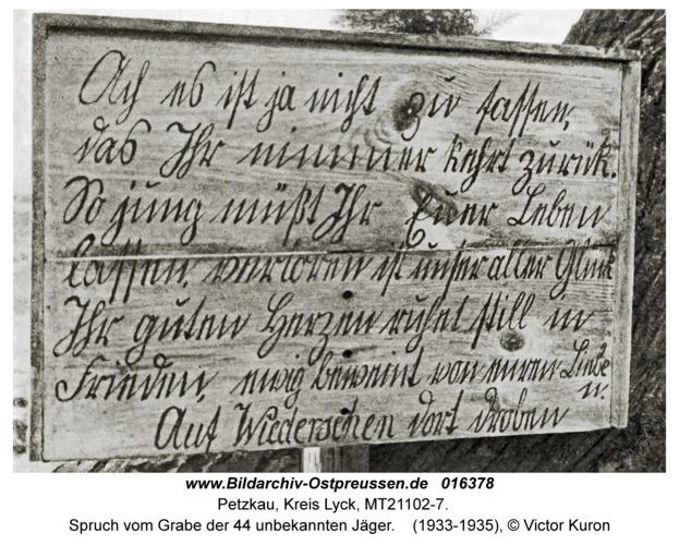 Petzkau, Spruch vom Grabe der 44 unbekannten Jäger