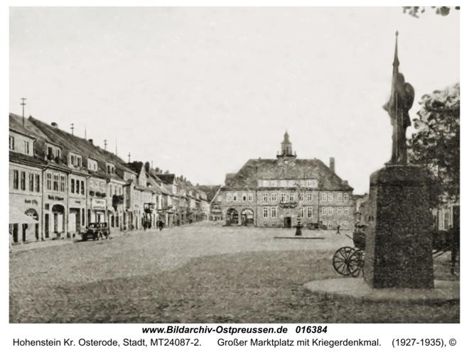 Hohenstein Kr. Osterode, Großer Marktplatz mit Kriegerdenkmal