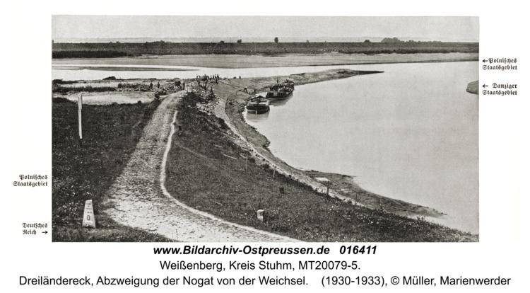 Weißenberg, Dreiländereck, Abzweigung der Nogat von der Weichsel