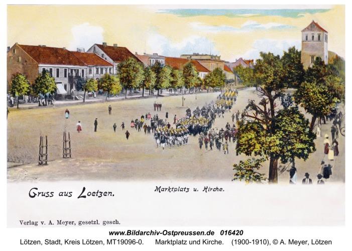 Lötzen, Marktplatz und Kirche