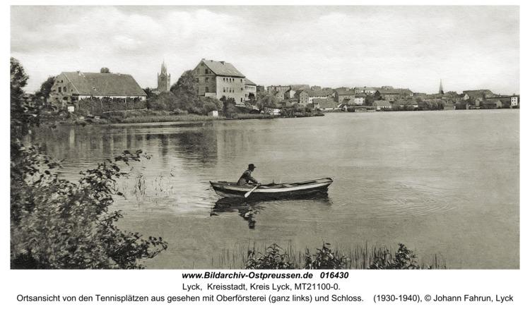 Lyck, Blick auf die Stadt von den Tennisplätzen aus gesehen mit Oberförsterei (ganz links) und Schloß