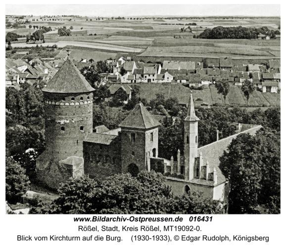 Rößel, Blick vom Kirchturm auf die Burg