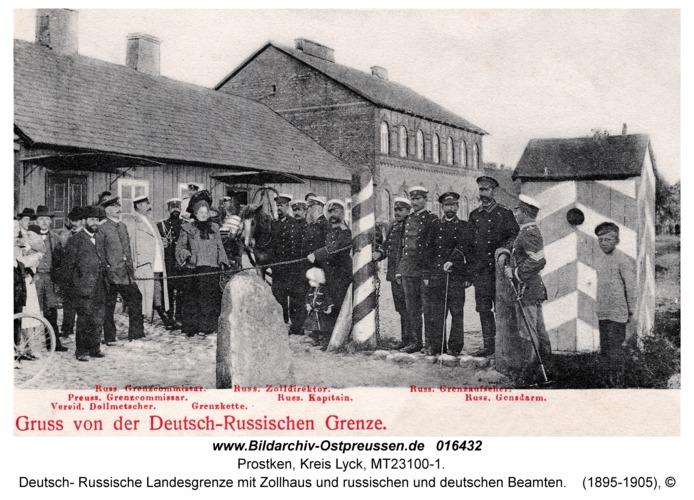 Prostken, Deutsch- Russische Landesgrenze mit Zollhaus und russischen und deutschen Beamten