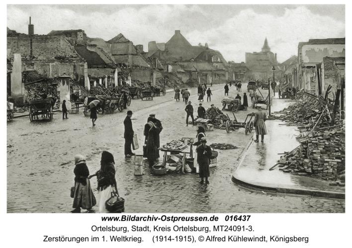 Ortelsburg, Zerstörungen im 1. Weltkrieg