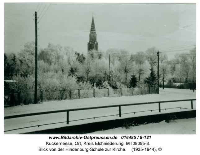 Kuckerneese, Blick von der Hindenburg-Schule zur Kirche