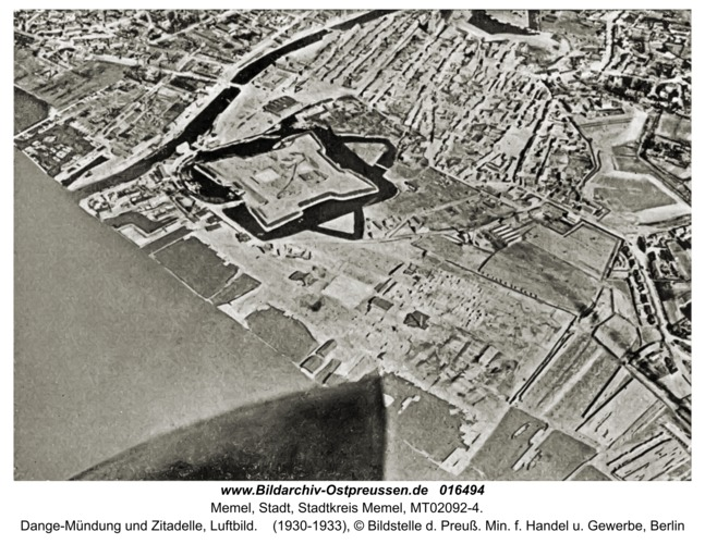Memel, Dange-Mündung und Zitadelle, Luftbild