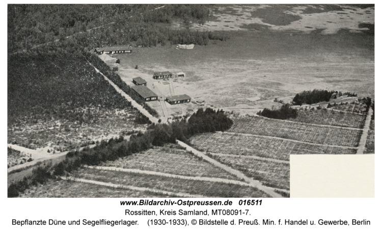 Rossitten Kr. Samland, Bepflanzte Düne und Segelfliegerlager, Luftbild