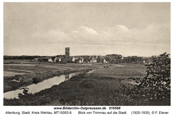 Allenburg, Blick von Trimmau auf die Stadt