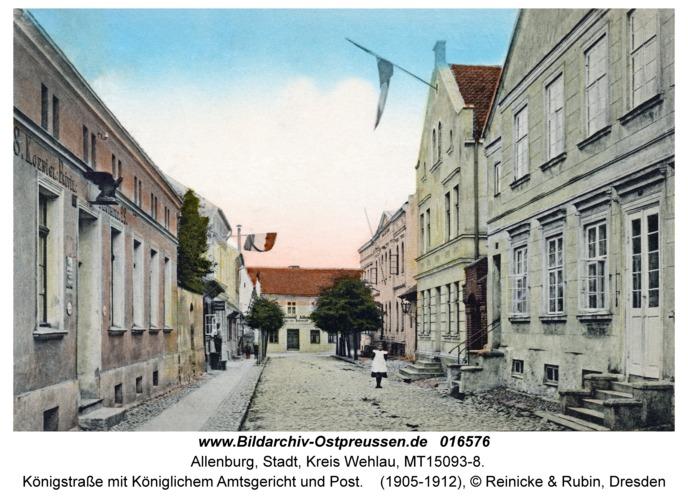 Allenburg, Königstraße mit Königlichem Amtsgericht und Post