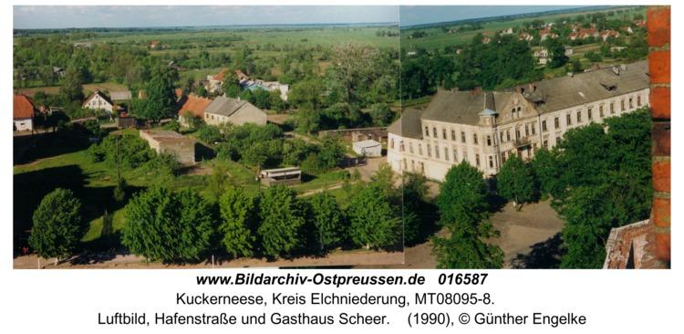 Kuckerneese, Luftbild, Hafenstraße und Gasthaus Scheer
