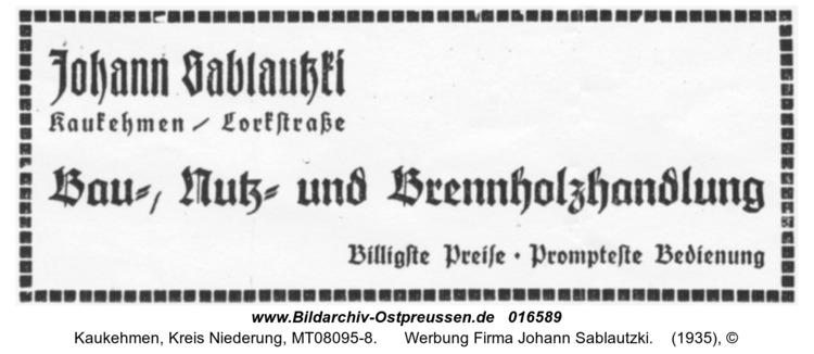 Kuckerneese, Werbung Firma Johann Sablautzki