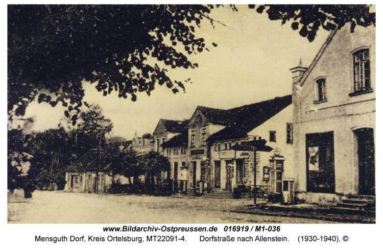 Mensguth, Dorfstraße nach Allenstein