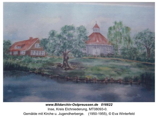 Inse, Gemälde mit Kirche u. Jugendherberge