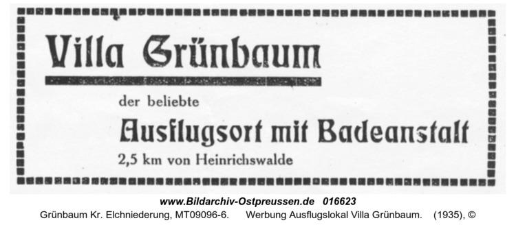 Grünbaum, Werbung Ausflugslokal Villa Grünbaum