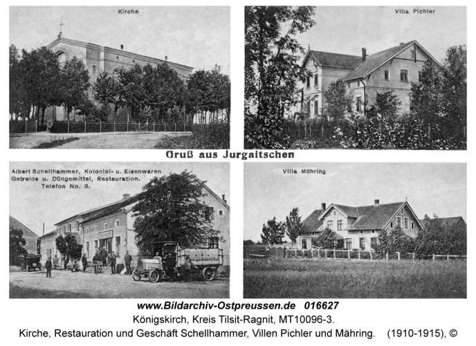 Königskirch, Kirche, Restauration und Geschäft Schellhammer, Villen Pichler und Mähring