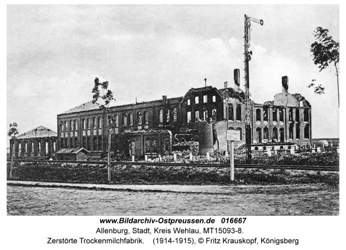Allenburg, Zerstörte Trockenmilchfabrik