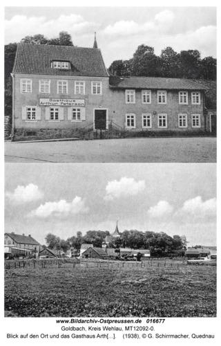 Goldbach Kr.Wehlau, Blick auf den Ort und das Gasthaus Arthur Peterson