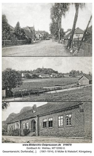 Goldbach Kr. Wehlau, Gesamtansicht, Dorfstraße und Schule