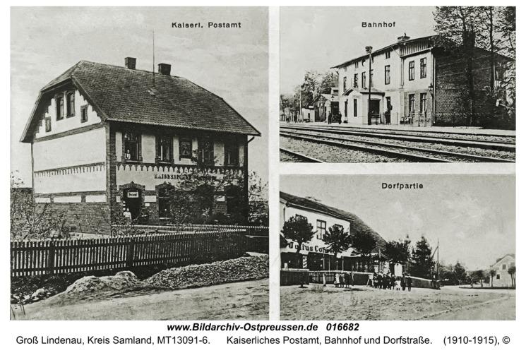 Groß Lindenau, Kaiserliches Postamt, Bahnhof und Dorfstraße