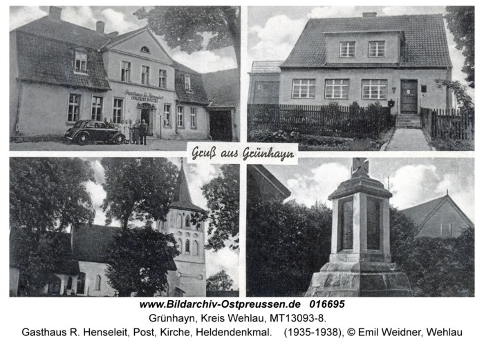 Grünhayn, Gasthaus R. Henseleit, Post, Kirche, Heldendenkmal