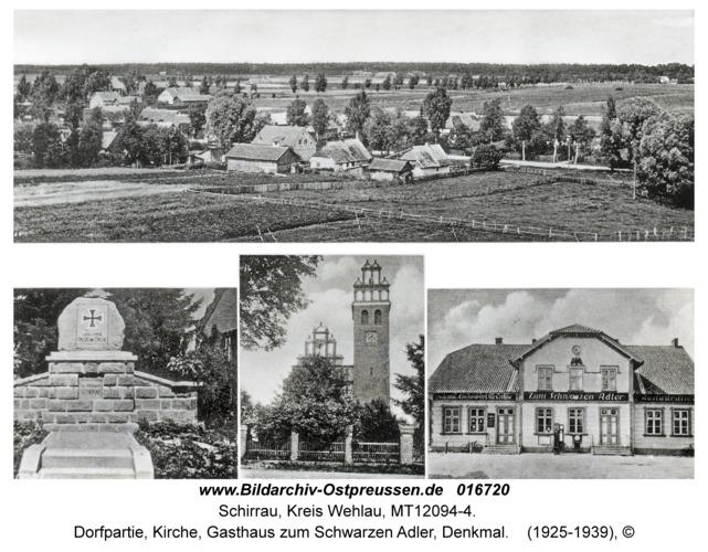 Schirrau, Dorfpartie, Kirche, Gasthaus zum Schwarzen Adler, Denkmal