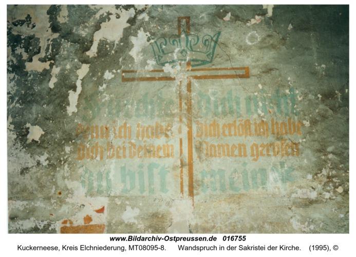 Kuckerneese, Wandspruch in der Sakristei der Kirche