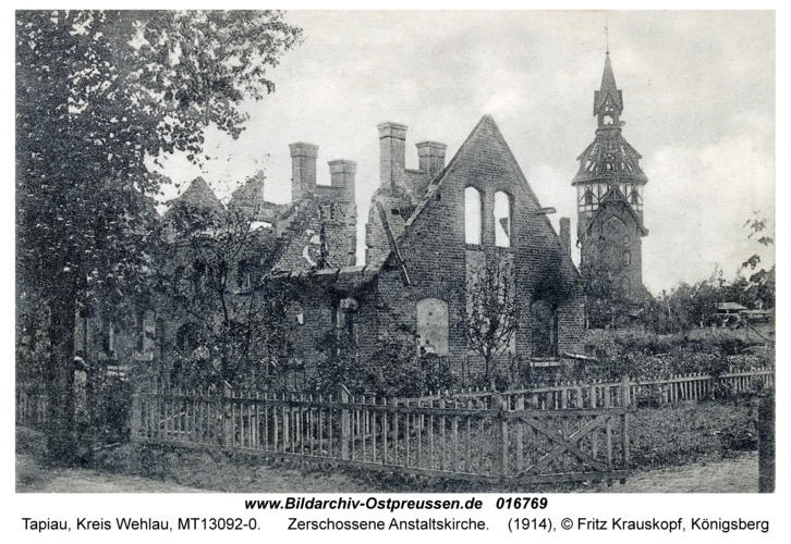 Tapiau, zerschossene Anstaltskirche