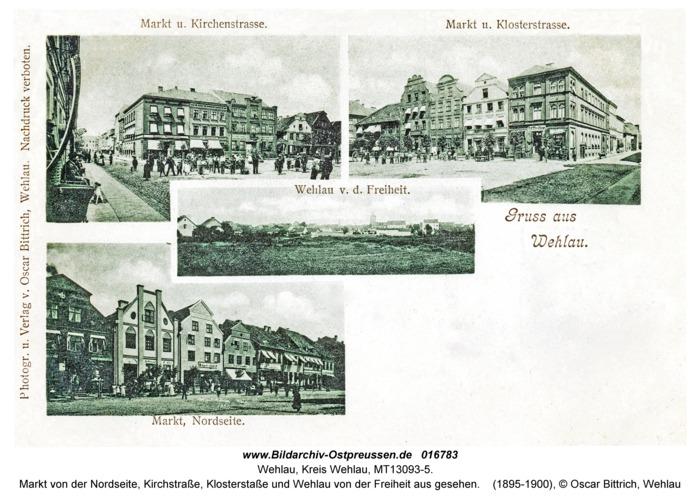 Wehlau, Markt von der Nordseite, Kirchstraße, Klosterstaße und Wehlau von der Freiheit aus gesehen