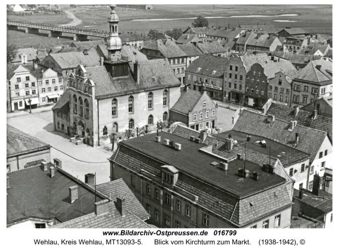 Wehlau, Blick vom Kirchturm zum Markt