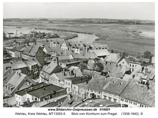 Wehlau, Blick vom Kirchturm zum Pregel