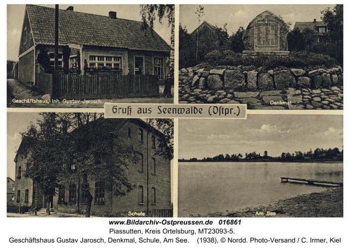 Seenwalde, Geschäftshaus Gustav Jarosch, Denkmal, Schule, Am See