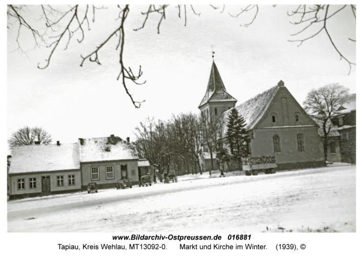 Tapiau, Markt und Kirche im Winter