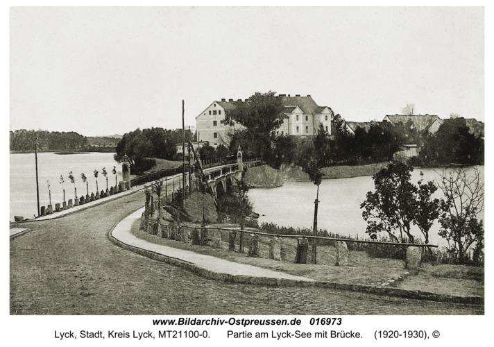 Lyck, Partie am Lyck-See mit Brücke