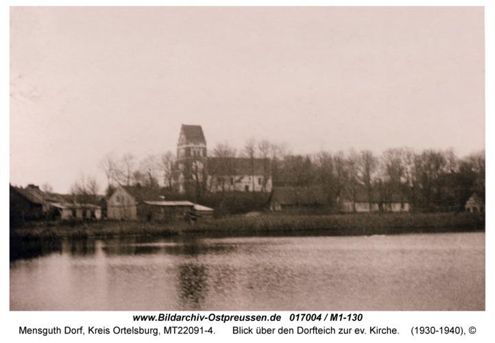 Mensguth, Blick über den Dorfteich zur ev. Kirche