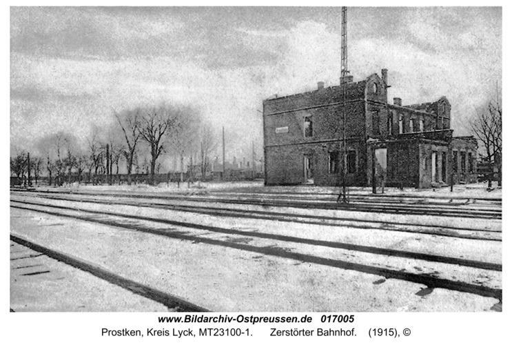 Prostken, Zerstörter Bahnhof