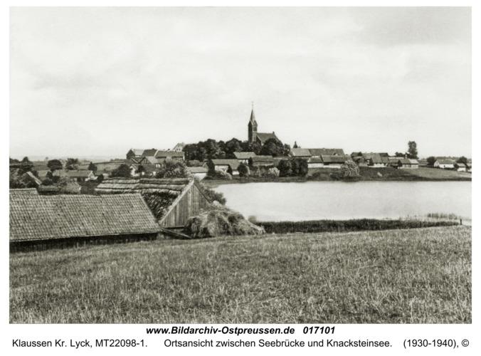 Klaussen Kr. Lyck, Ortsansicht zwischen Seebrücke und Knacksteinsee