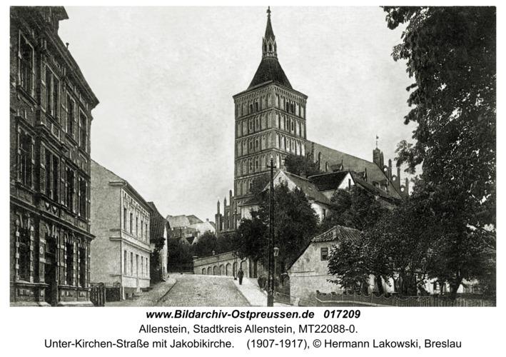 Allenstein, Unter-Kirchen-Straße mit Jakobikirche