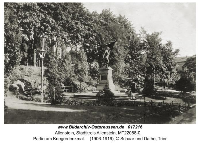 Allenstein, Partie am Kriegerdenkmal