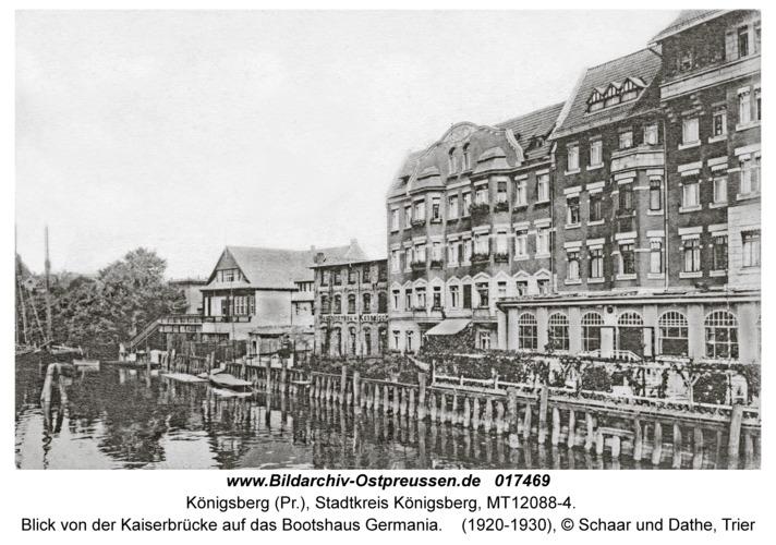 Königsberg, Blick von der Kaiserbrücke auf das Bootshaus Germania